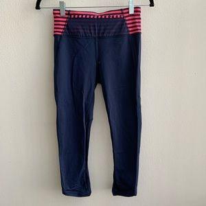 Lululemon Navy and Coral Striped Crops Size 6